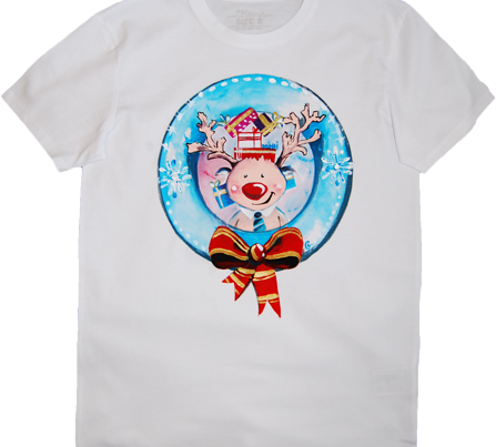 Tricou Pictat Christmas Theme Cute Reindeer